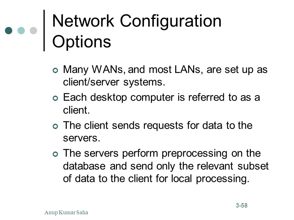 Anup Kumar Saha58 3-58 Network Configuration Options Many WANs, and most LANs, are set up as client/server systems.