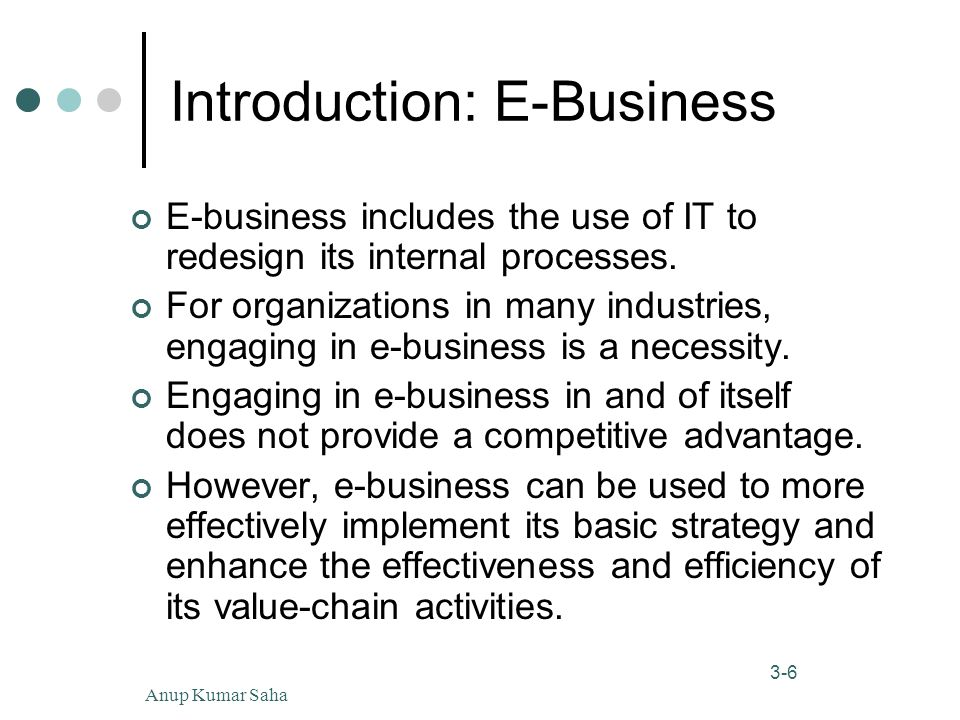 Anup Kumar Saha6 3-6 Introduction: E-Business E-business includes the use of IT to redesign its internal processes.