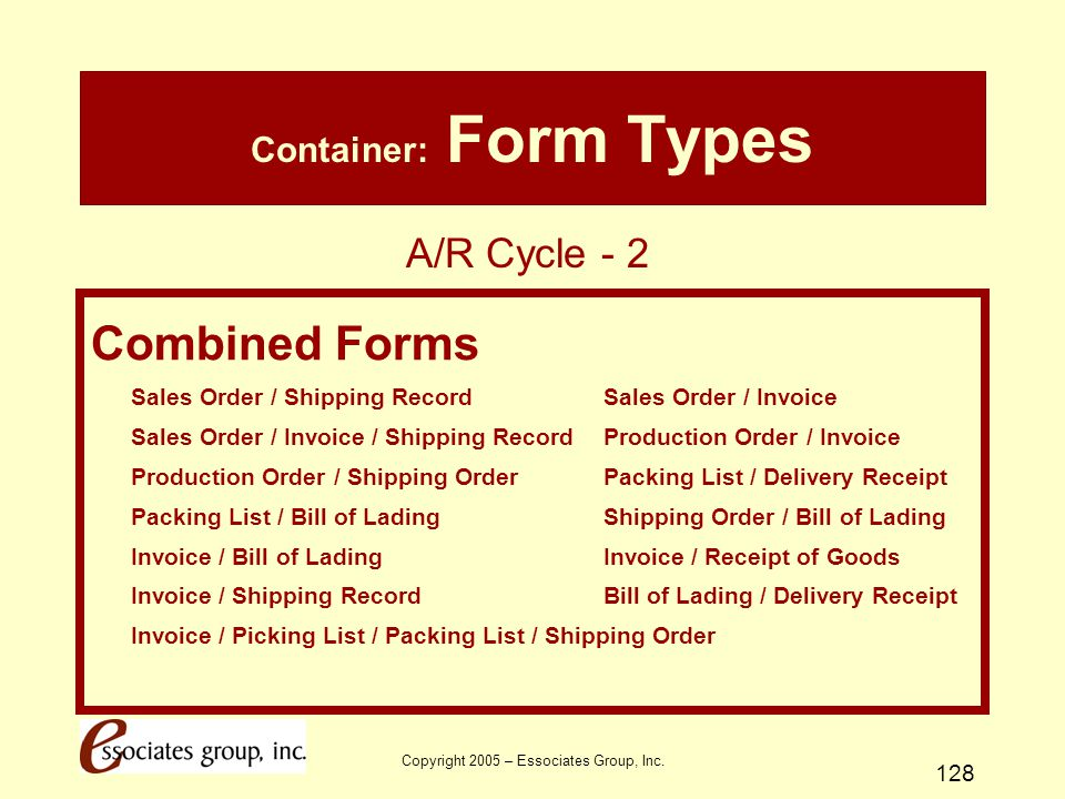 Copyright 2005 – Essociates Group, Inc. 128 Container: Form Types Combined Forms Sales Order / Shipping Record Sales Order / Invoice Sales Order / Inv
