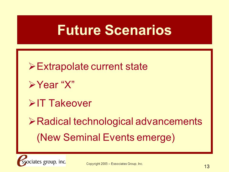 """Copyright 2005 – Essociates Group, Inc. 13 Future Scenarios  Extrapolate current state  Year """"X""""  IT Takeover  Radical technological advancements"""