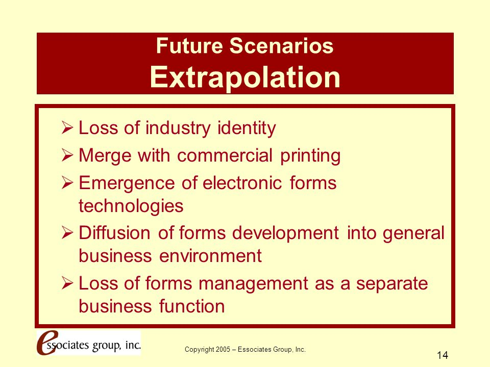 Copyright 2005 – Essociates Group, Inc. 14 Future Scenarios Extrapolation  Loss of industry identity  Merge with commercial printing  Emergence of