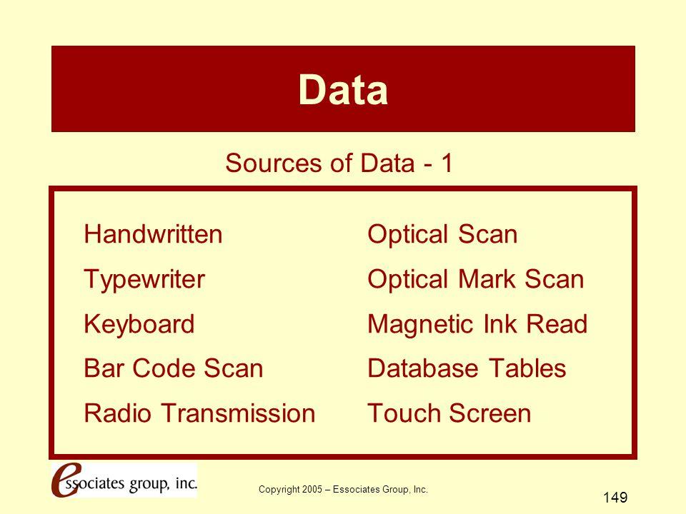 Copyright 2005 – Essociates Group, Inc. 149 Data HandwrittenOptical Scan TypewriterOptical Mark Scan KeyboardMagnetic Ink Read Bar Code ScanDatabase T