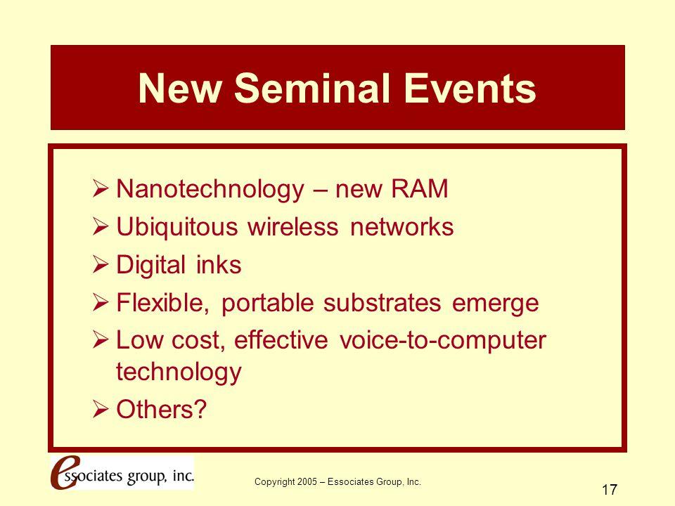 Copyright 2005 – Essociates Group, Inc. 17 New Seminal Events  Nanotechnology – new RAM  Ubiquitous wireless networks  Digital inks  Flexible, por