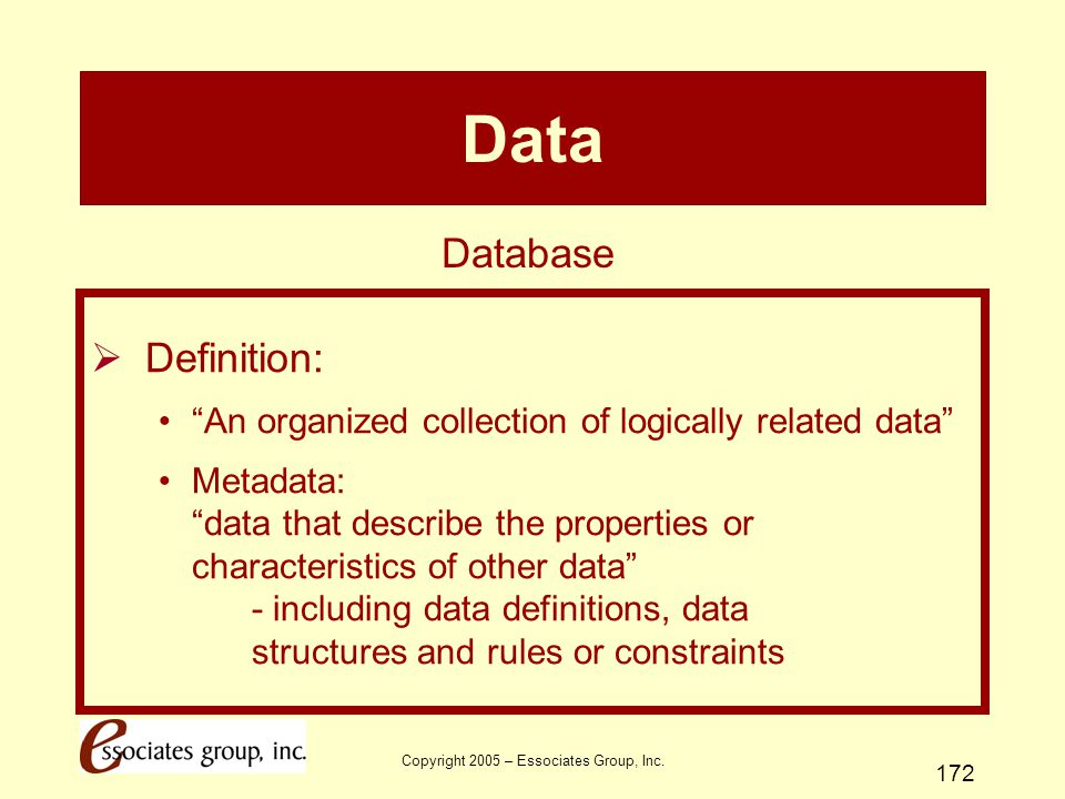 """Copyright 2005 – Essociates Group, Inc. 172 Data  Definition: """"An organized collection of logically related data"""" Metadata: """"data that describe the p"""