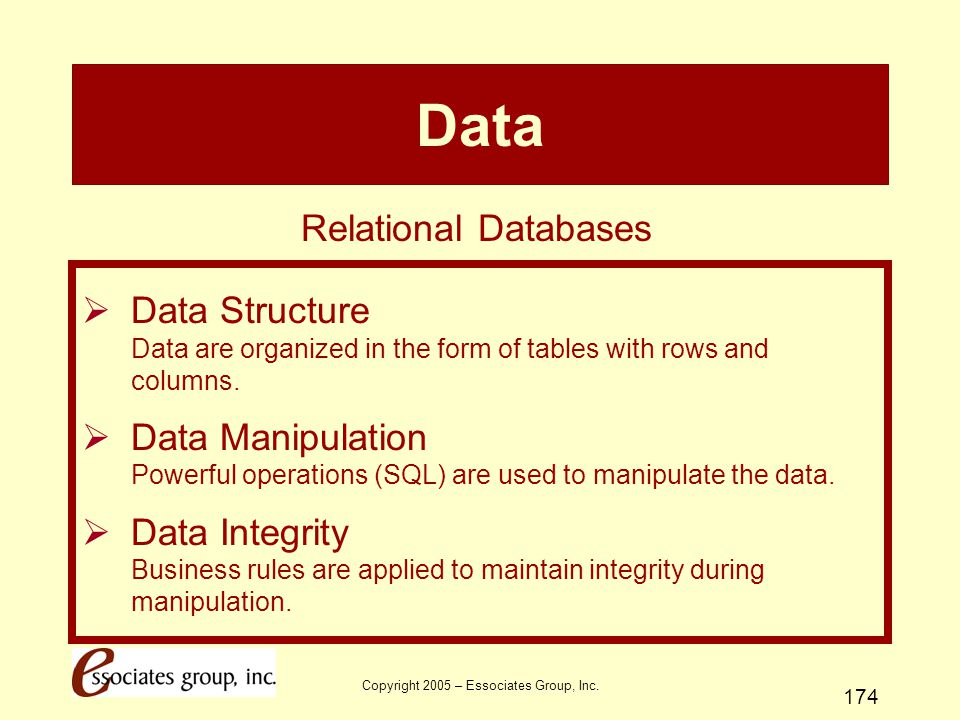 Copyright 2005 – Essociates Group, Inc. 174 Data  Data Structure Data are organized in the form of tables with rows and columns.  Data Manipulation