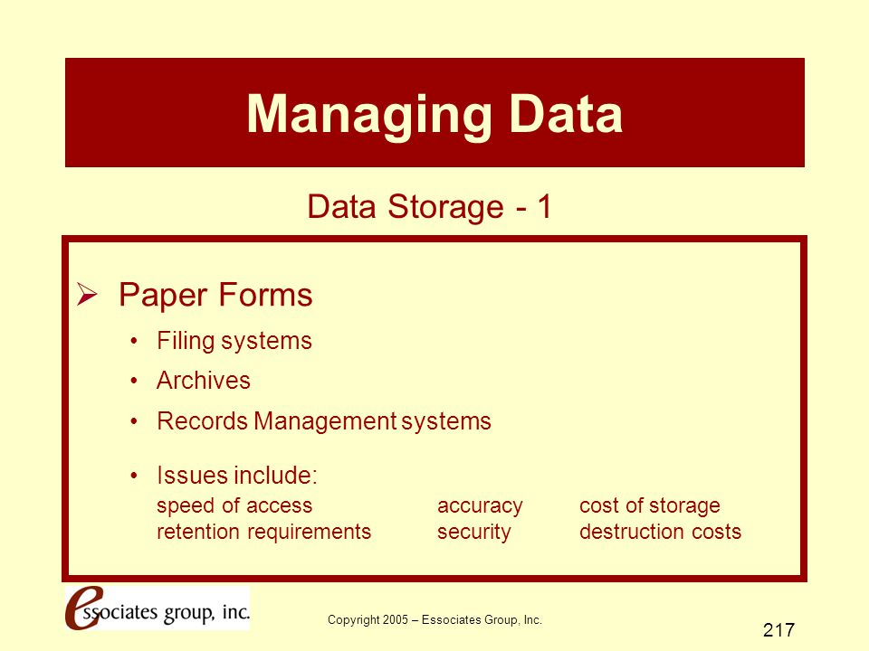 Copyright 2005 – Essociates Group, Inc. 217 Managing Data  Paper Forms Filing systems Archives Records Management systems Issues include: speed of ac