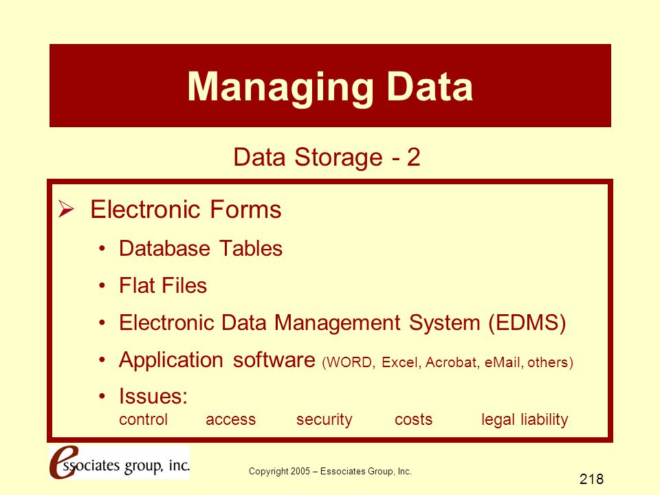 Copyright 2005 – Essociates Group, Inc. 218 Managing Data  Electronic Forms Database Tables Flat Files Electronic Data Management System (EDMS) Appli