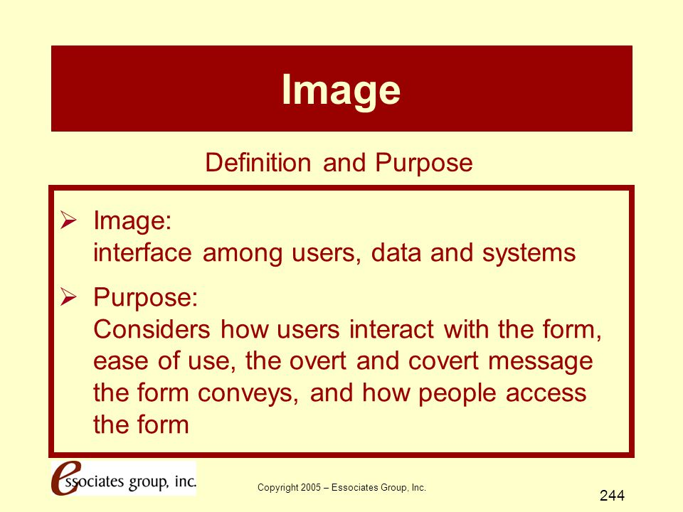 Copyright 2005 – Essociates Group, Inc. 244 Image  Image: interface among users, data and systems  Purpose: Considers how users interact with the fo