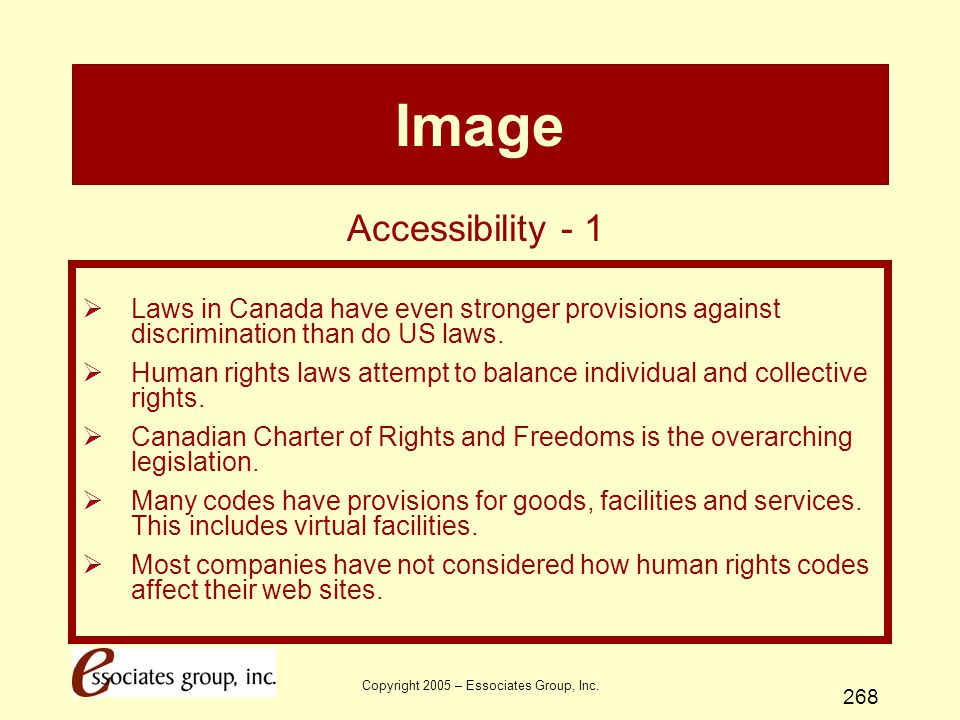Copyright 2005 – Essociates Group, Inc. 268 Image  Laws in Canada have even stronger provisions against discrimination than do US laws.  Human right