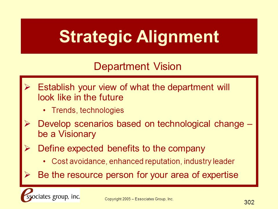 Copyright 2005 – Essociates Group, Inc. 302 Strategic Alignment  Establish your view of what the department will look like in the future Trends, tech