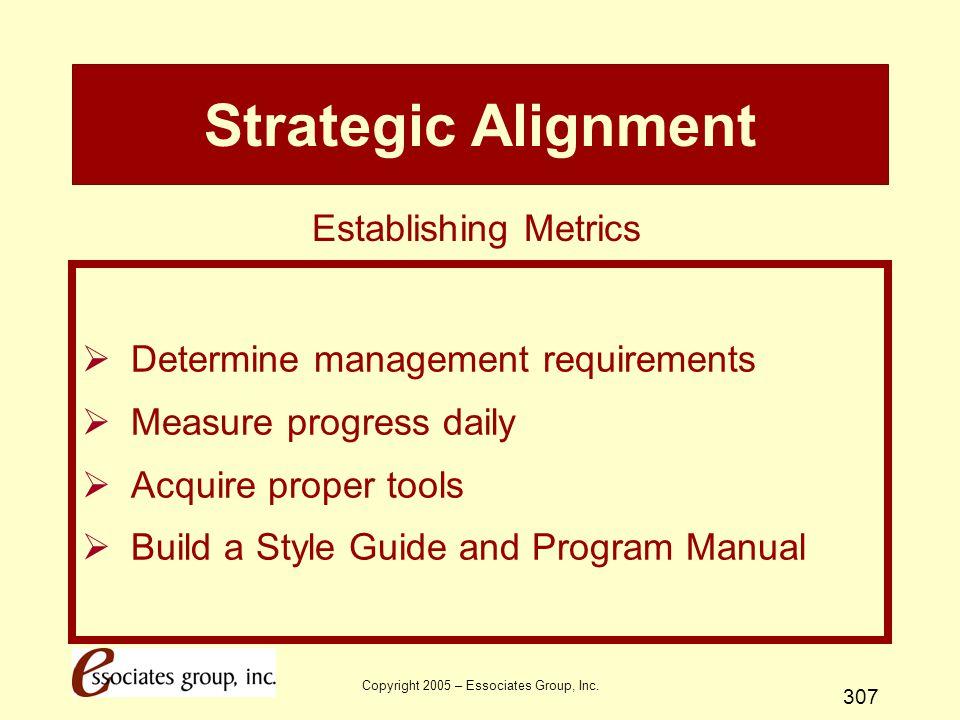 Copyright 2005 – Essociates Group, Inc. 307 Strategic Alignment  Determine management requirements  Measure progress daily  Acquire proper tools 
