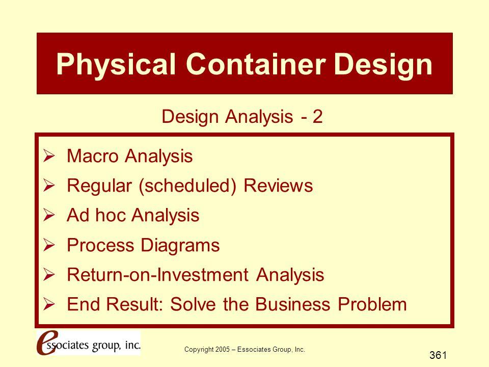 Copyright 2005 – Essociates Group, Inc. 361 Physical Container Design  Macro Analysis  Regular (scheduled) Reviews  Ad hoc Analysis  Process Diagr