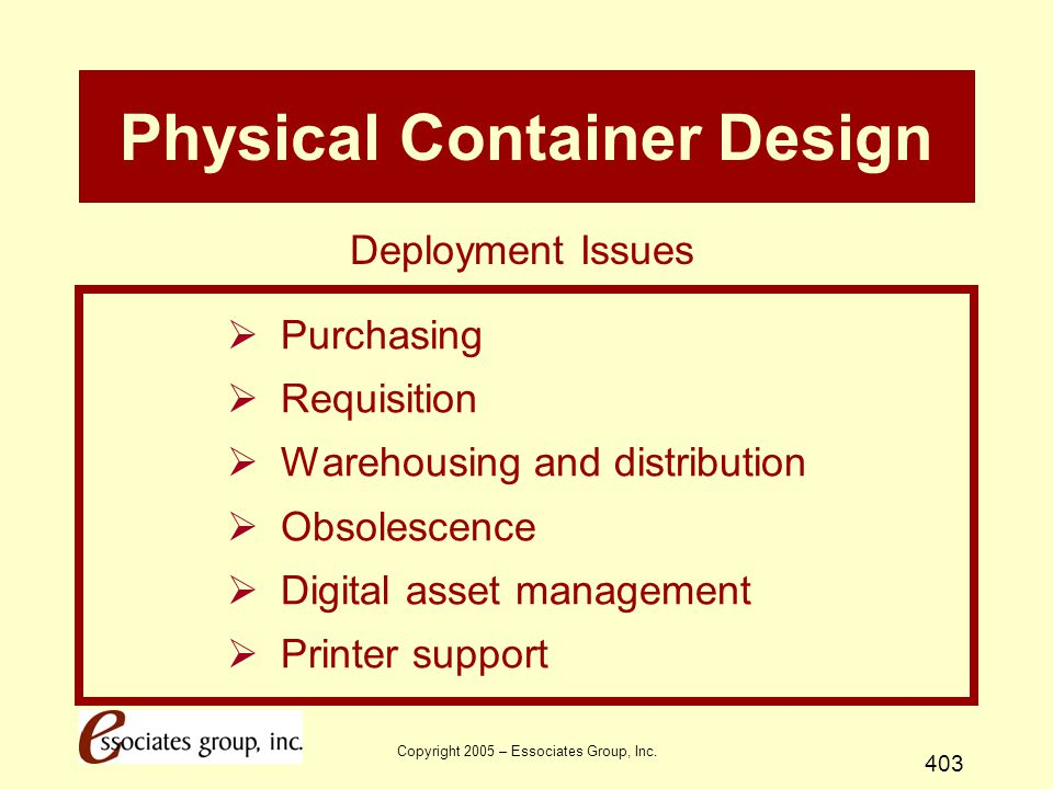 Copyright 2005 – Essociates Group, Inc. 403 Physical Container Design  Purchasing  Requisition  Warehousing and distribution  Obsolescence  Digit