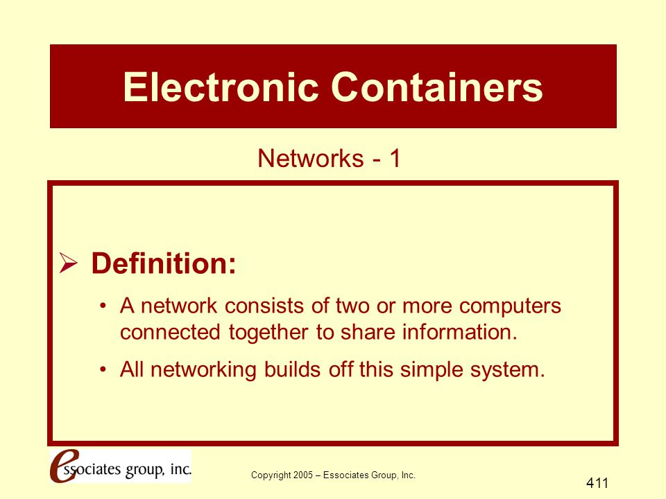 Copyright 2005 – Essociates Group, Inc. 411 Electronic Containers  Definition: A network consists of two or more computers connected together to shar