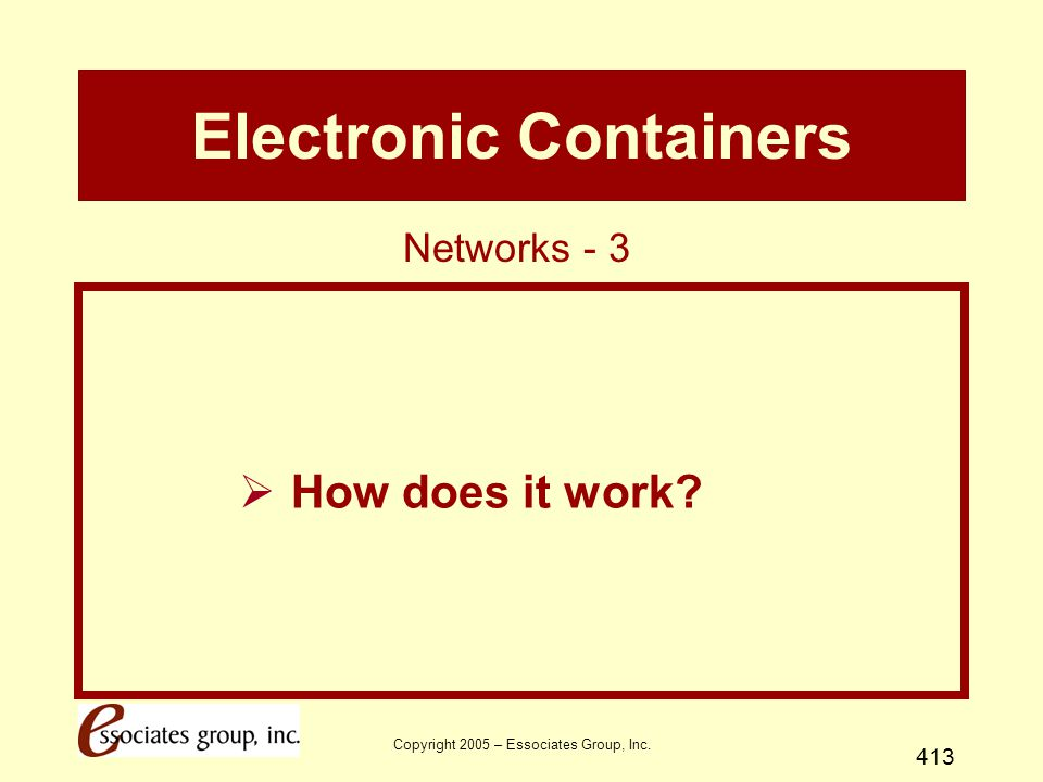 Copyright 2005 – Essociates Group, Inc. 413 Electronic Containers  How does it work? Networks - 3