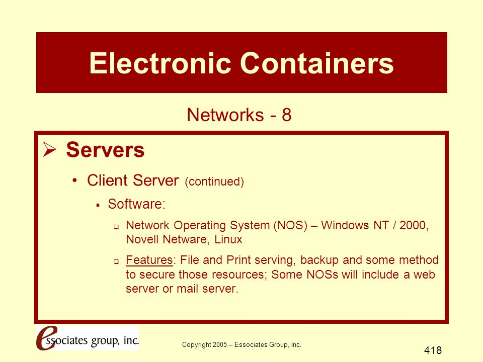 Copyright 2005 – Essociates Group, Inc. 418 Electronic Containers  Servers Client Server (continued)  Software:  Network Operating System (NOS) – W