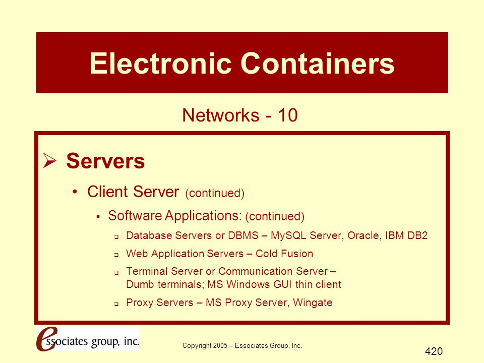 Copyright 2005 – Essociates Group, Inc. 420 Electronic Containers  Servers Client Server (continued)  Software Applications: (continued)  Database