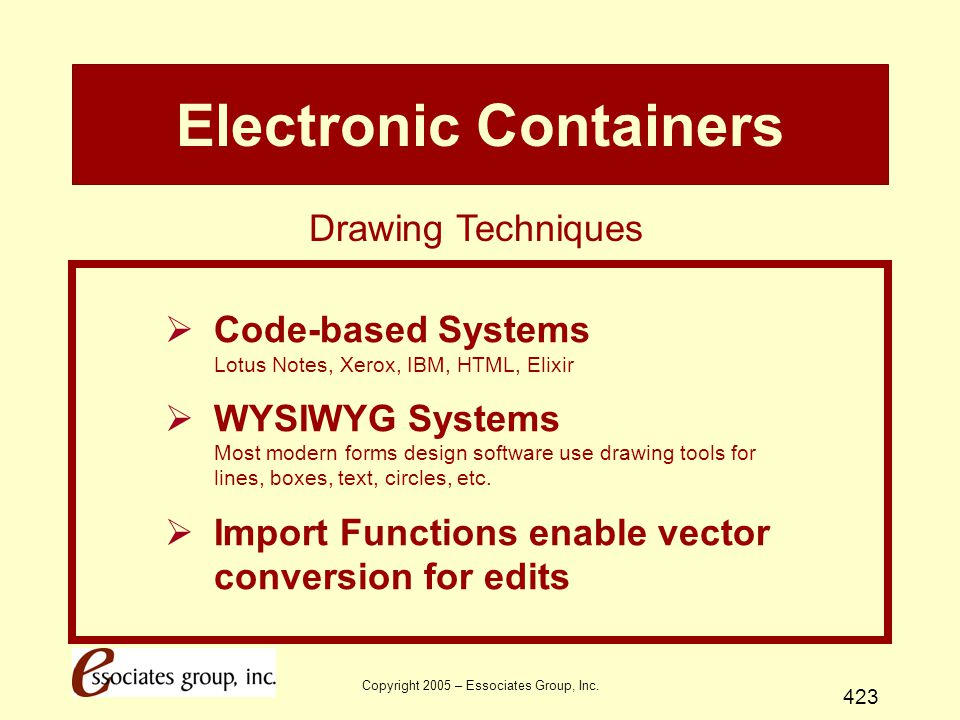 Copyright 2005 – Essociates Group, Inc. 423 Electronic Containers  Code-based Systems Lotus Notes, Xerox, IBM, HTML, Elixir  WYSIWYG Systems Most mo