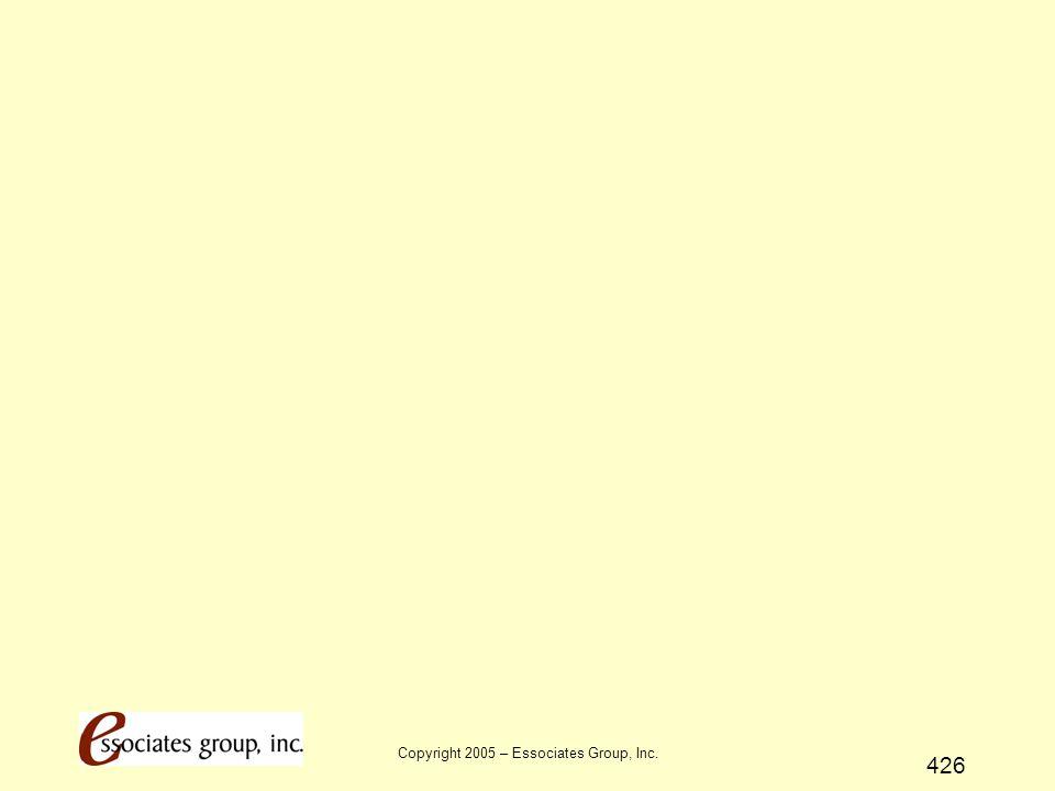 Copyright 2005 – Essociates Group, Inc. 426