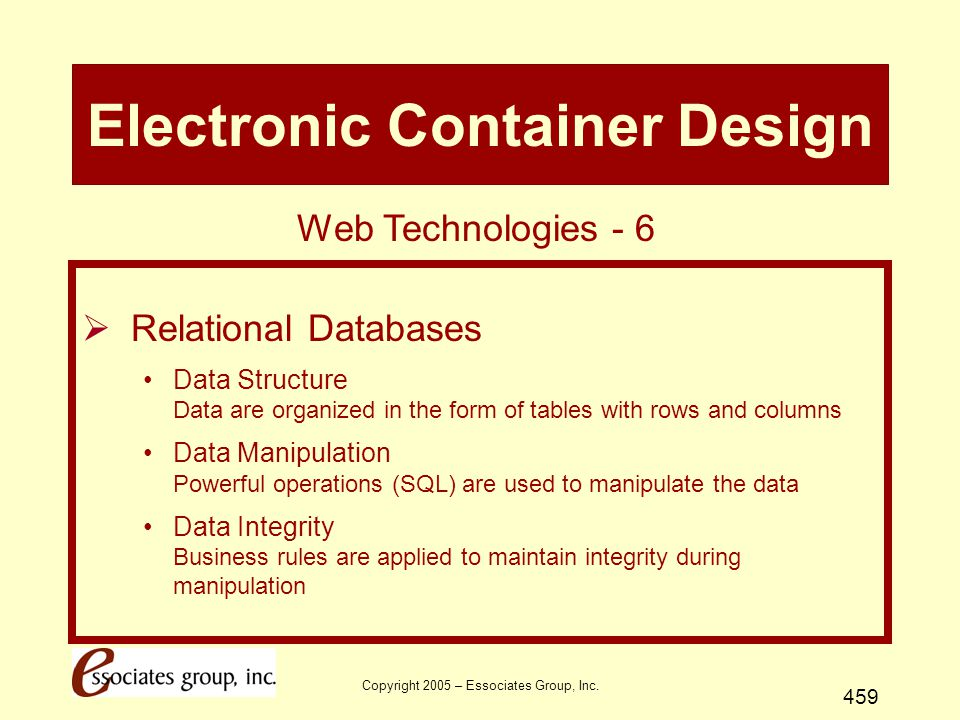 Copyright 2005 – Essociates Group, Inc. 459 Electronic Container Design  Relational Databases Data Structure Data are organized in the form of tables