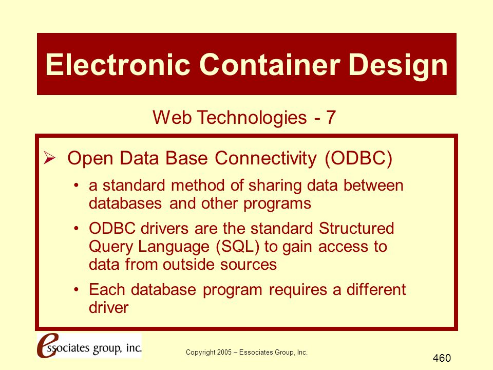 Copyright 2005 – Essociates Group, Inc. 460 Electronic Container Design  Open Data Base Connectivity (ODBC) a standard method of sharing data between