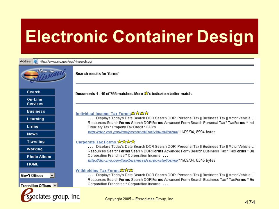 Copyright 2005 – Essociates Group, Inc. 474 Electronic Container Design Deployment Strategies - 7