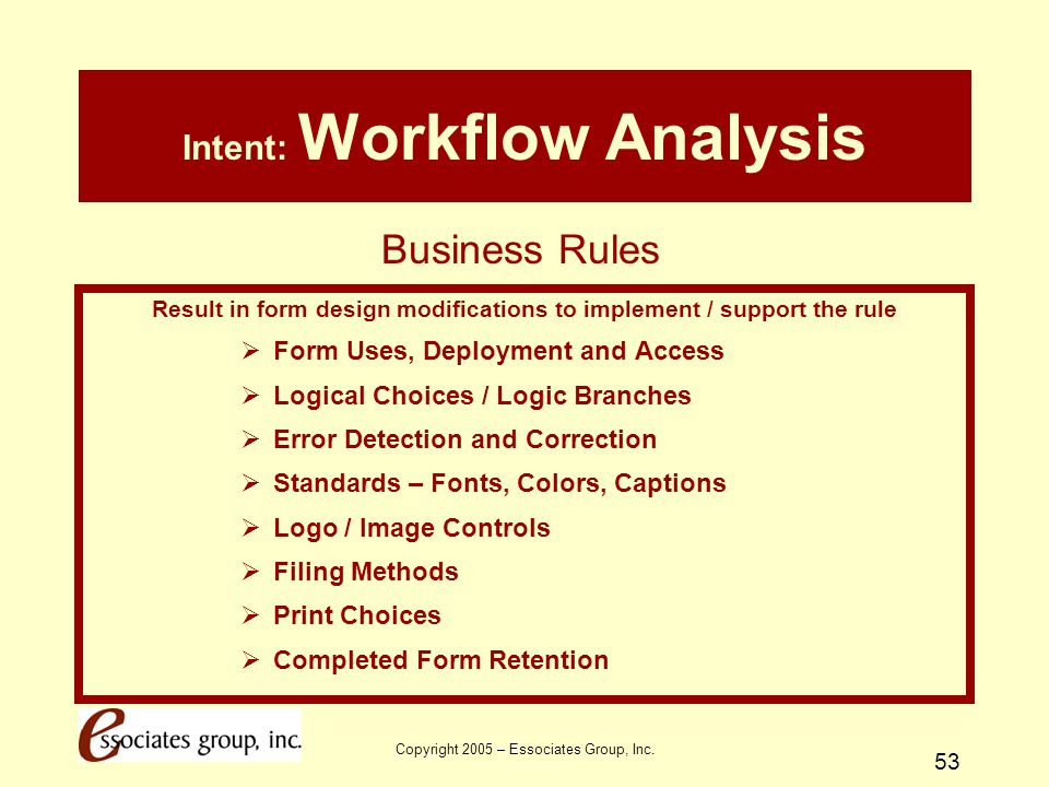 Copyright 2005 – Essociates Group, Inc. 53 Intent: Workflow Analysis Result in form design modifications to implement / support the rule  Form Uses,