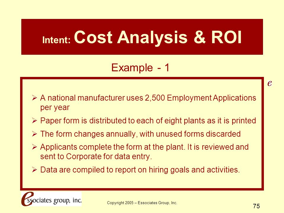 Copyright 2005 – Essociates Group, Inc. 75 Intent: Cost Analysis & ROI  A national manufacturer uses 2,500 Employment Applications per year  Paper f