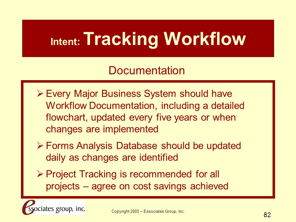 Copyright 2005 – Essociates Group, Inc. 82 Intent: Tracking Workflow  Every Major Business System should have Workflow Documentation, including a det