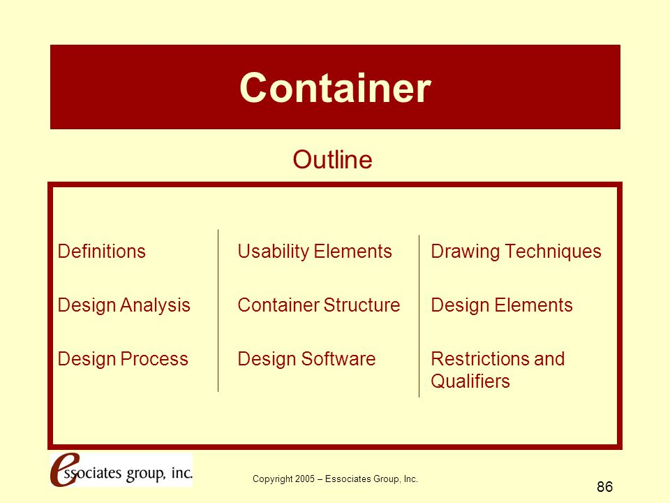 Copyright 2005 – Essociates Group, Inc. 86 Container Definitions Usability Elements Drawing Techniques Design Analysis Container Structure Design Elem