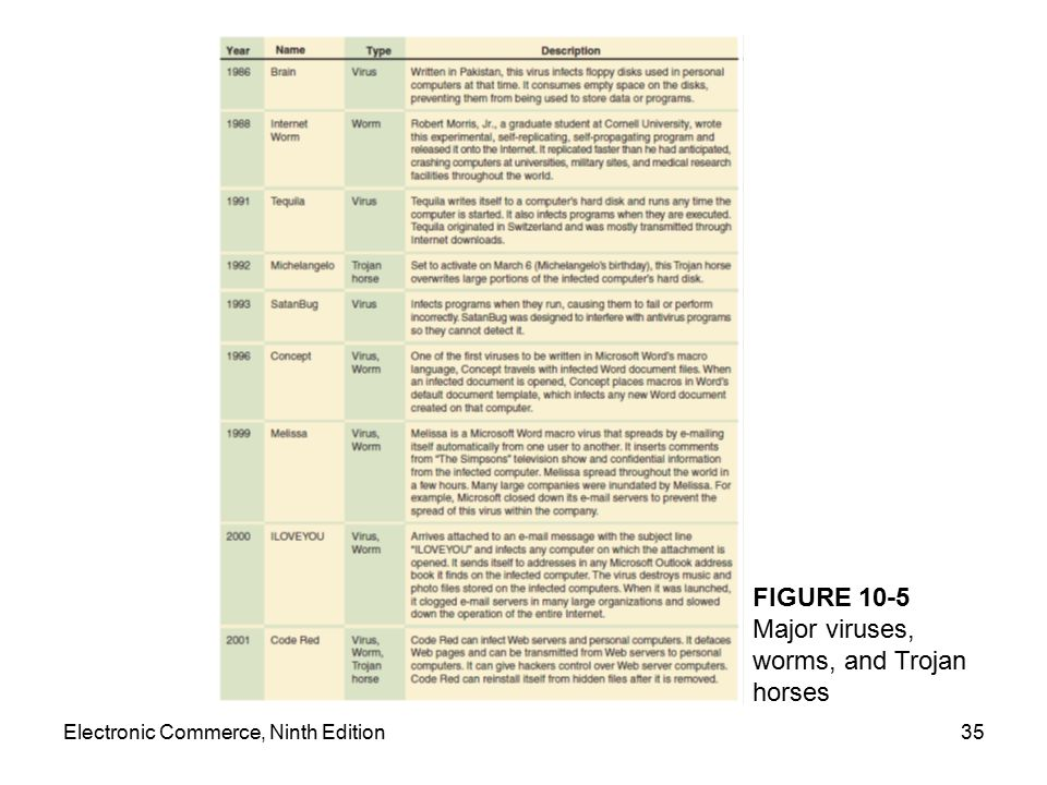 Electronic Commerce, Ninth Edition35 FIGURE 10-5 Major viruses, worms, and Trojan horses