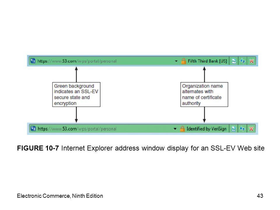 Electronic Commerce, Ninth Edition43 FIGURE 10-7 Internet Explorer address window display for an SSL-EV Web site