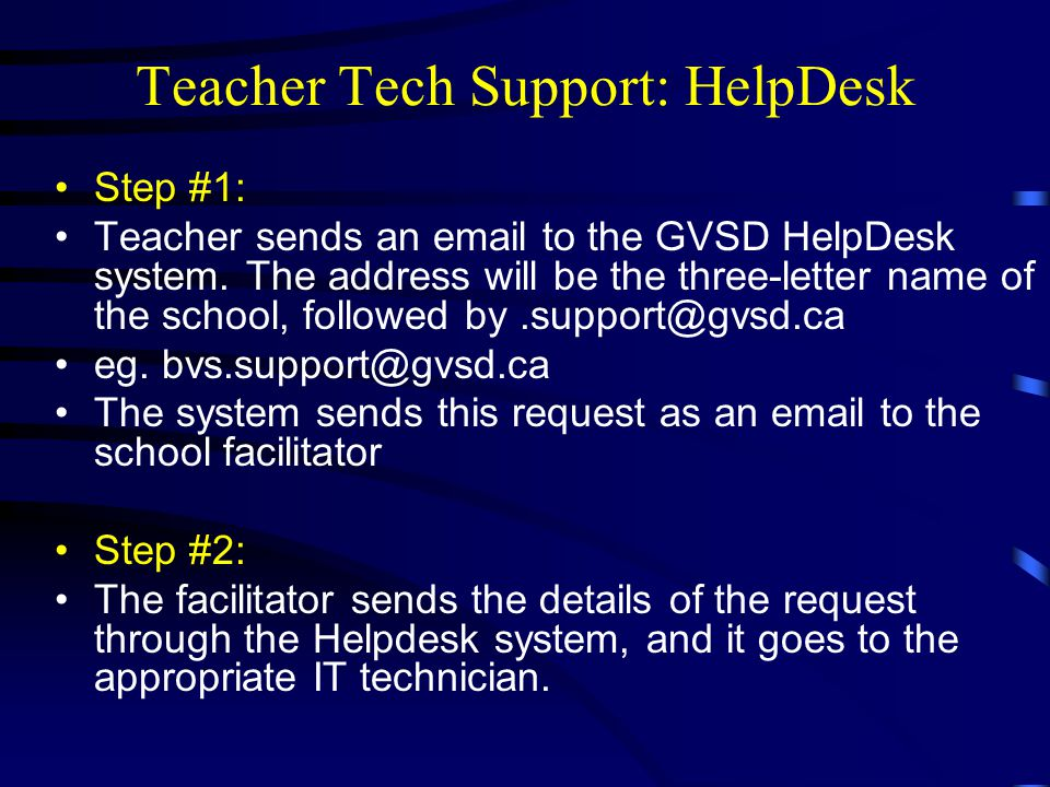Teacher Tech Support: HelpDesk Step #1: Teacher sends an email to the GVSD HelpDesk system.
