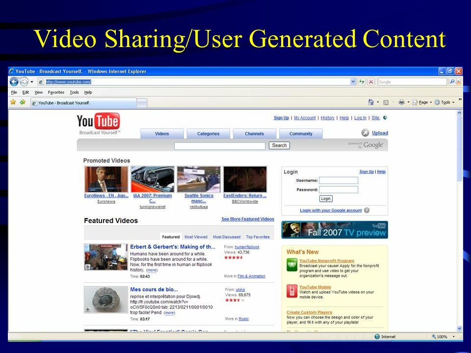 Video Sharing/User Generated Content