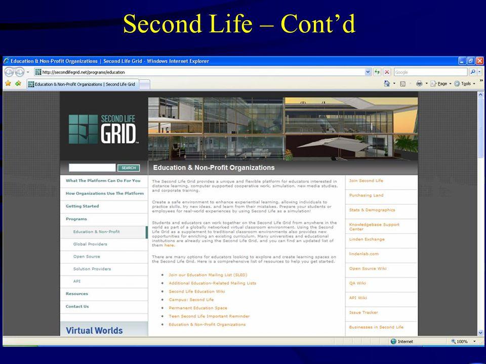 Second Life – Cont'd