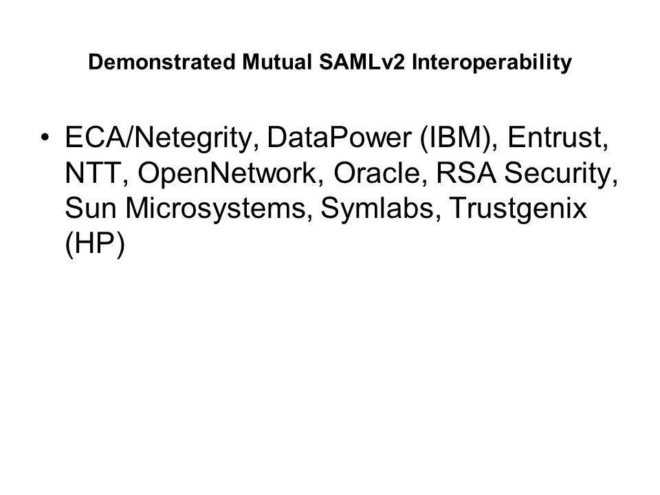 Demonstrated Mutual SAMLv2 Interoperability ECA/Netegrity, DataPower (IBM), Entrust, NTT, OpenNetwork, Oracle, RSA Security, Sun Microsystems, Symlabs, Trustgenix (HP)