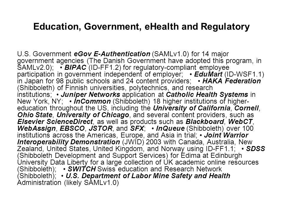 Education, Government, eHealth and Regulatory U.S.