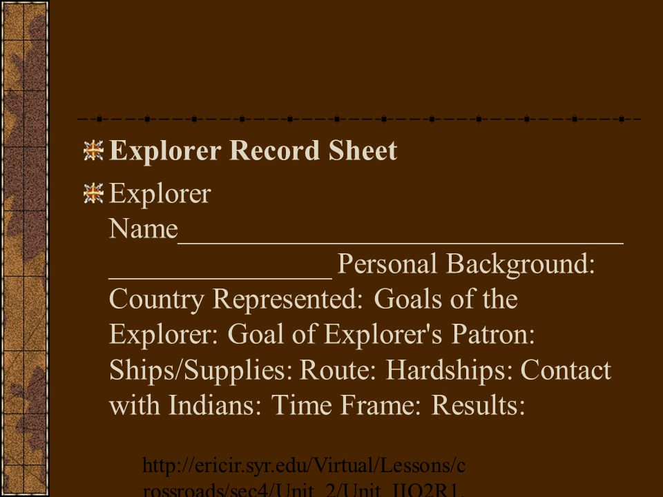 Explorer Record Sheet Explorer Name______________________________ _______________ Personal Background: Country Represented: Goals of the Explorer: Goal of Explorer s Patron: Ships/Supplies: Route: Hardships: Contact with Indians: Time Frame: Results: http://ericir.syr.edu/Virtual/Lessons/c rossroads/sec4/Unit_2/Unit_IIQ2R1.