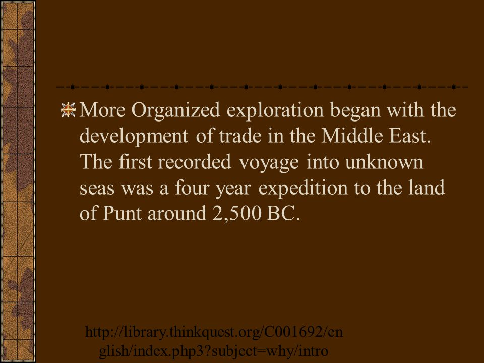 More Organized exploration began with the development of trade in the Middle East.