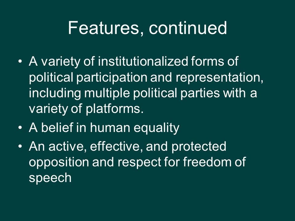 Political Culture and Participation New Divisions –Gender : gender gaps in voting –Post-industrial –Post-materialist: focus on higher- order values such as job and personel satisfaction, self- actualization, moral issues & concerns, environmental issues Reflects relatively affluent voters