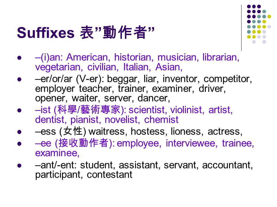 Suffixes 表 動作者 –(i)an: American, historian, musician, librarian, vegetarian, civilian, Italian, Asian, –er/or/ar (V-er): beggar, liar, inventor, competitor, employer teacher, trainer, examiner, driver, opener, waiter, server, dancer, –ist ( 科學 / 藝術專家 ): scientist, violinist, artist, dentist, pianist, novelist, chemist –ess ( 女性 ) waitress, hostess, lioness, actress, –ee ( 接收動作者 ): employee, interviewee, trainee, examinee, –ant/-ent: student, assistant, servant, accountant, participant, contestant