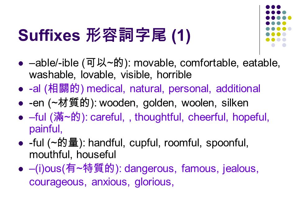 Suffixes 形容詞字尾 (1) –able/-ible ( 可以 ~ 的 ): movable, comfortable, eatable, washable, lovable, visible, horrible -al ( 相關的 ) medical, natural, personal, additional -en (~ 材質的 ): wooden, golden, woolen, silken –ful ( 滿 ~ 的 ): careful,, thoughtful, cheerful, hopeful, painful, -ful (~ 的量 ): handful, cupful, roomful, spoonful, mouthful, houseful –(i)ous( 有 ~ 特質的 ): dangerous, famous, jealous, courageous, anxious, glorious,