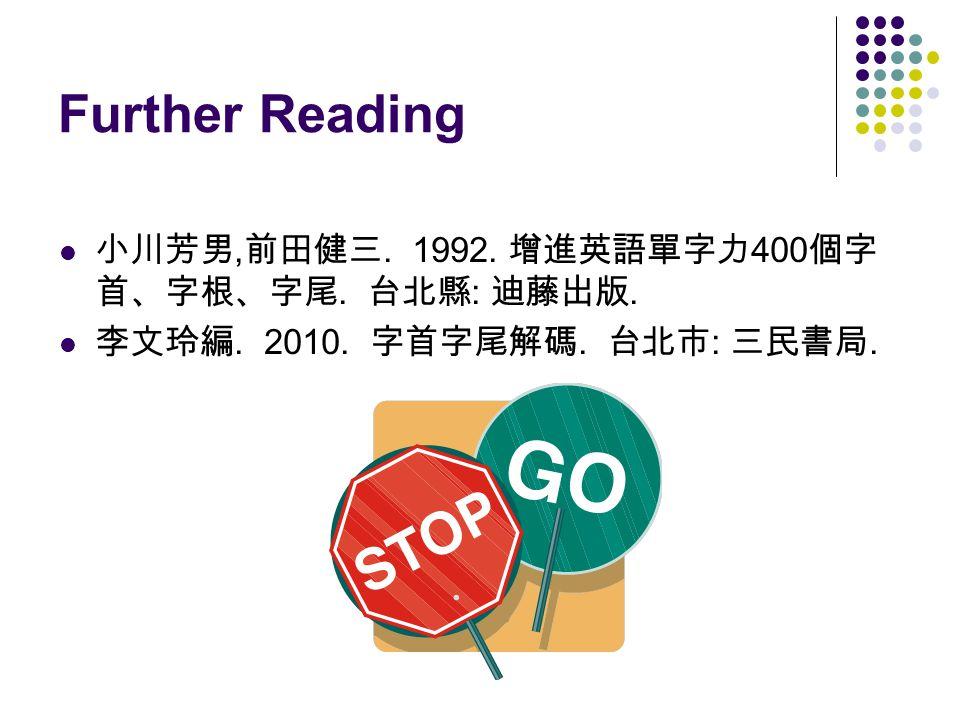 Further Reading 小川芳男, 前田健三. 1992. 增進英語單字力 400 個字 首、字根、字尾.