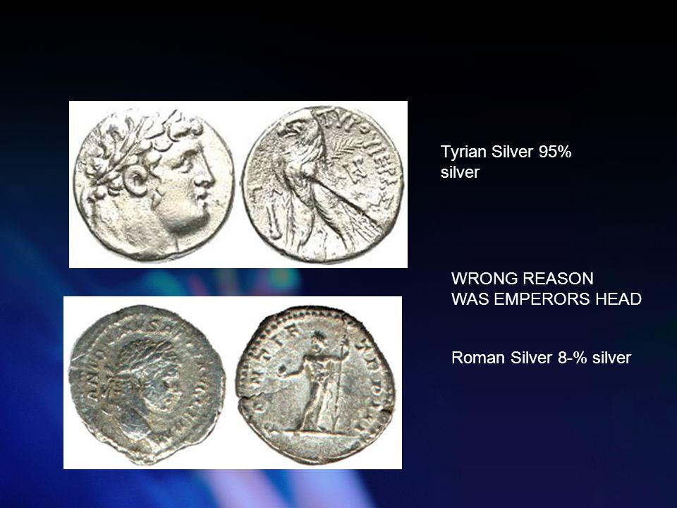 Tyrian Silver 95% silver Roman Silver 8-% silver WRONG REASON WAS EMPERORS HEAD