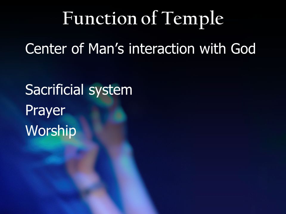 Function of Temple Center of Man's interaction with God Sacrificial system Prayer Worship