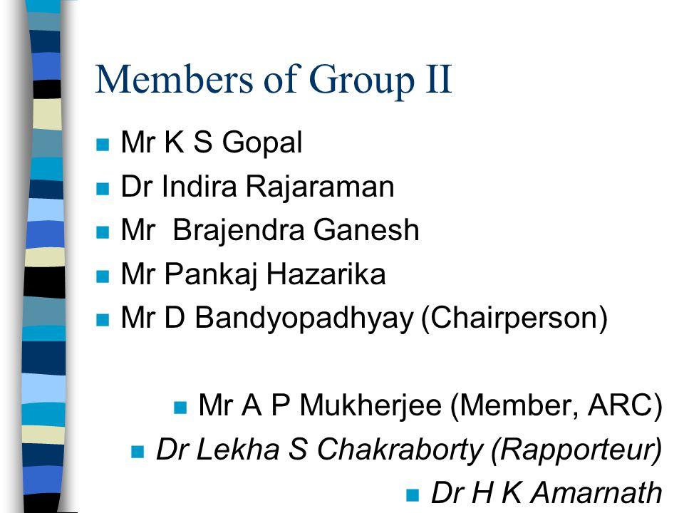 Members of Group II n Mr K S Gopal n Dr Indira Rajaraman n Mr Brajendra Ganesh n Mr Pankaj Hazarika n Mr D Bandyopadhyay (Chairperson) n Mr A P Mukher