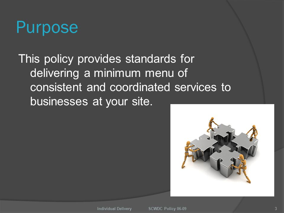 Purpose This policy provides standards for delivering a minimum menu of consistent and coordinated services to businesses at your site.