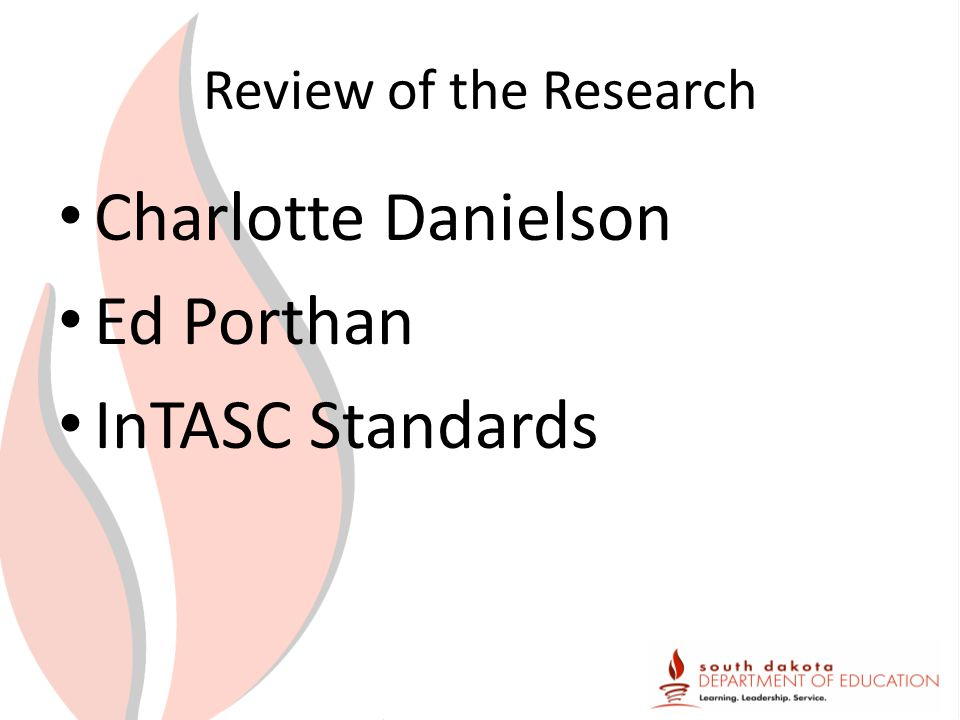 Review of the Research Charlotte Danielson Ed Porthan InTASC Standards