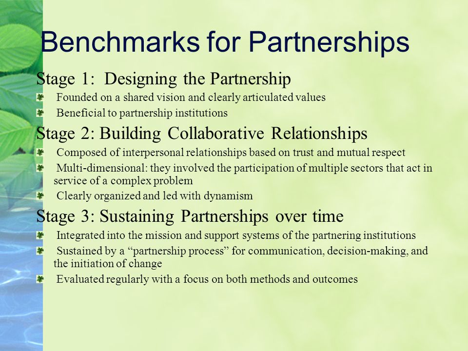 Benchmarks for Partnerships Stage 1: Designing the Partnership Founded on a shared vision and clearly articulated values Beneficial to partnership institutions Stage 2: Building Collaborative Relationships Composed of interpersonal relationships based on trust and mutual respect Multi-dimensional: they involved the participation of multiple sectors that act in service of a complex problem Clearly organized and led with dynamism Stage 3: Sustaining Partnerships over time Integrated into the mission and support systems of the partnering institutions Sustained by a partnership process for communication, decision-making, and the initiation of change Evaluated regularly with a focus on both methods and outcomes