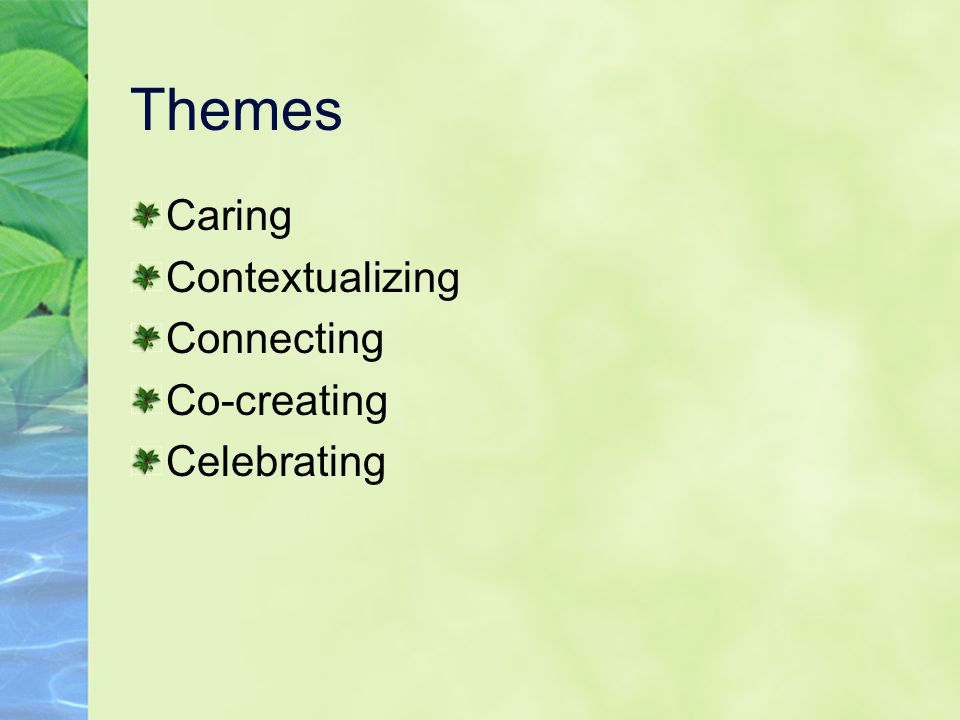 Themes Caring Contextualizing Connecting Co-creating Celebrating